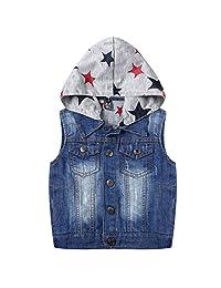 Kids Boys Hooded Denim Vest Zipper Hoodie Jean Jacket Tops Tank Outerwear 3-10 Years