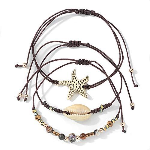 (Summer Shell Strand Bracelet Set Handmade Waterproof Wax Coated Braided Rope Boho Woven Bracelet Women)