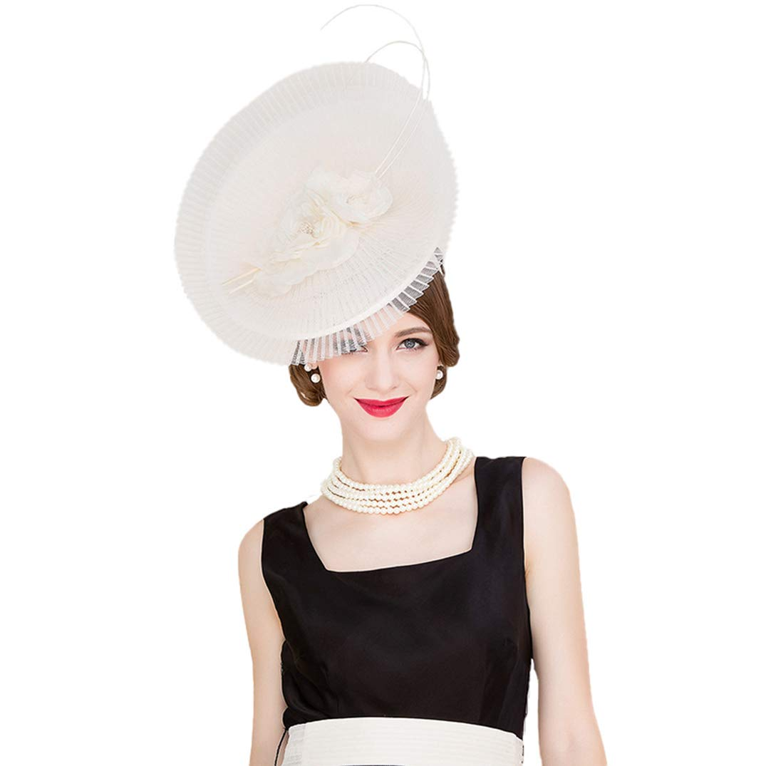 Women Fascinators Large Brim Flowers Royal Wedding Hat Kentucky Derby Party Fedora White