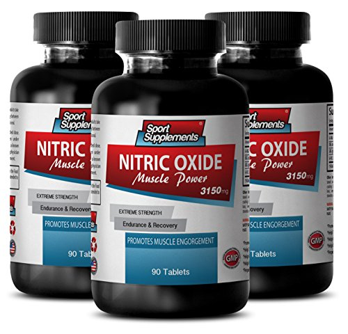 Nitric Oxide Muscle Power - Nitric Oxide Muscle Power 3150mg - Muscle building Sport Edition (3 Bottles - 270 Capsules)