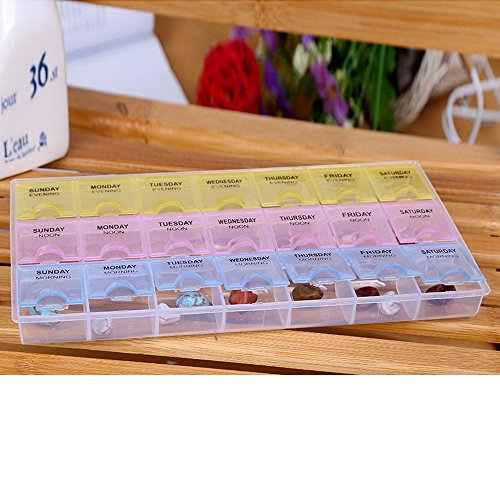 ^YW^^ ❤ Pill Storage , 7 Day Pill Box Medicine Tablet Dispenser Organizer Weekly Storage Case for AM PM