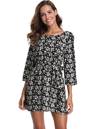 MISS MOLY Women's 3/4 Sleeves Boat Neck Printed Half Placket Above Knee Belted Swing Casual (Woman Printed Belted Dress)