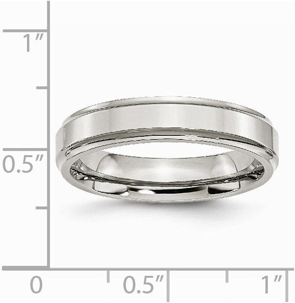 Mens Stainless Steel Ridged Edge Polished Wedding Band Ring