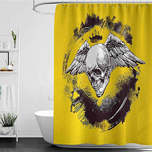 SKDSArts Shower Curtains Liner with Pockets Tattoo,The Death Angel Crowned Skull Drawing with Wide Magnificent Feather Wings,Yellow Back and White,W60 x L72,Shower Curtain for Shower stall