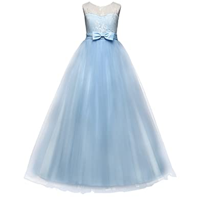 02fbce9c438c8 Girls Embroidery Princess Pageant Dress Kids Tulle Flower Lace Wedding  Party Prom Floor Length Formal Evening Ball Gowns