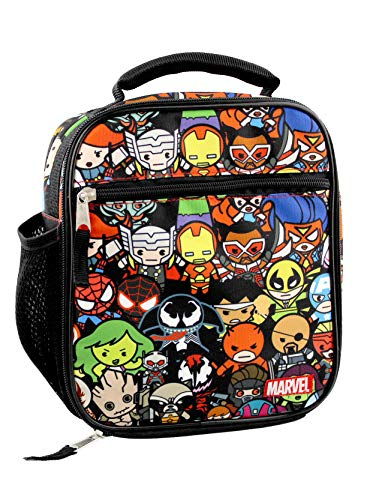Marvel Kawaii Avengers Girls Boys Soft Insulated School Lunch Box (One Size, Black/Multi)