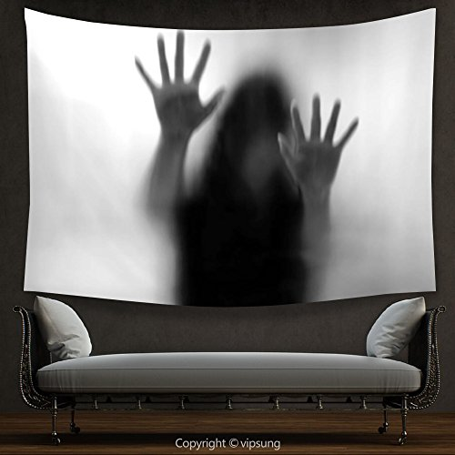 House Decor Tapestry Horror House Decor Silhouette of Woman behind the Veil Scared to Death Obscured Paranormal Photo Gray Wall Hanging for Bedroom Living Room Dorm by vipsung