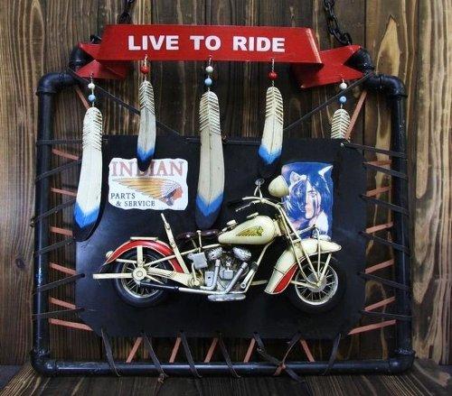 レトロなブリキのおもちゃ 【オートバイ インディアンモーターサイクルタイプ 壁掛けフレーム】