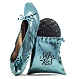 Women's Foldable Portable Travel Ballet Flat Roll up Slipper Shoes (Large, Aqua)