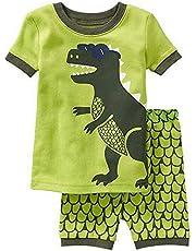 Backbuy Conjunto de Pijama para Niños Ropa de Dormir de Algodón para Niños Niño Verano 2 Piezas Pantalones Cortos de Pijama Patrón de Dinosaurio por 2-11 Años