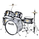 Mendini by Cecilio 16 inch 5-Piece Complete Kids / Junior Drum Set with Adjustable Throne, Cymbal, Pedal & Drumsticks, Metallic Silver, MJDS-5-SR