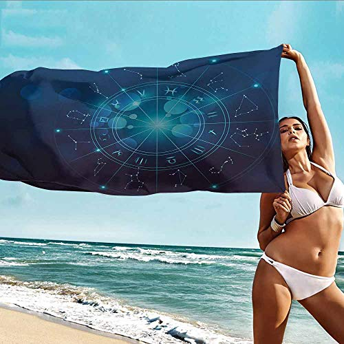 HOMEDD Toddler Bath Towel,Astrology Fortune Telling Birth Chart Zodiac Signs in Space Geometrical Image,Bath Towel for Bathroom,W63x31L Turquoise Blue and White