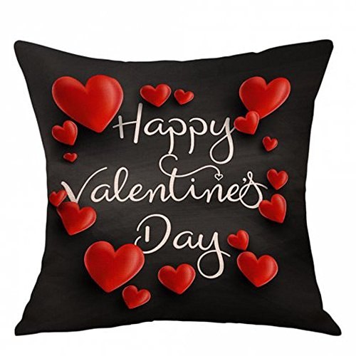 iYBUIA Cotton Linen Love Valentine's Day Fashion Throw Pillow Cases Cafe Sofa Cushion Cover Home Decor]()
