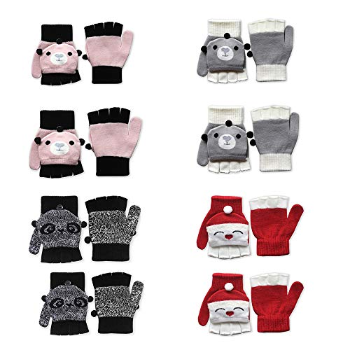 EvridWear 4 Prs Flip Top Gloves for Kids, Convertible Mittens with Thumb Flap for Toddlers Hand Protection, 3 Sizes