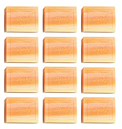 Bela Pure Natural Soaps Triple French Milled Moisturizing Natural Soap Bars - Orange Zest - Made in Australia - Ideal Holiday Gifts for Him/Her, Family, Friends, Teachers - 12 pack (3.5 oz each