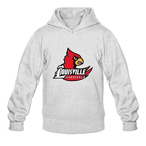 Leberts Ash Louisville Cardinals 100% Cotton Hoodies For Mens Size Medium