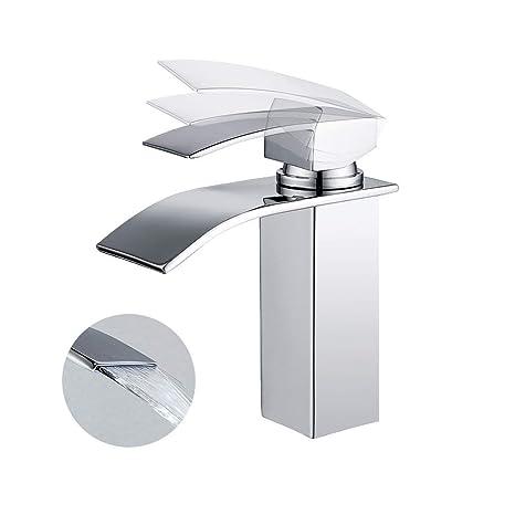 Homelody Wasserhahn Bad Armatur Wasserfall Mischbatterie Badarmatur Einhebelmischer Waschbecken Waschtischbatterie für Badezi