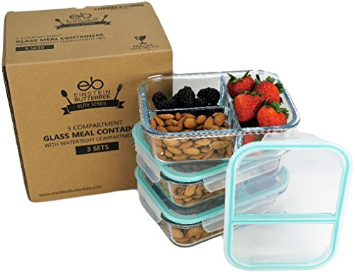 [3-Pack] New 2018 Design - 3 Compartment Watertight Glass Meal Prep Food Storage Containers - Portion Control for Keto, DASH and Mediterranean Diet - BPA Free - Free Keto Cookbook Sample