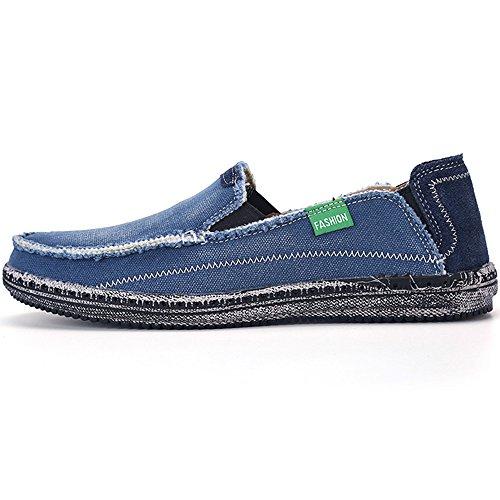 VILOCY Herren Beiläufig Denim Stoff Schlüpfen Schuhe Retro Segeltuch Boot Fahren Eben Faulenzer Sneaker Blau