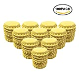 used beer caps - HAWORTHS 100 PCS Crown Bottle CaPs Decorative Bottle CaP Both Sideds Printed for Hair Bows, DIY Pendants or Craft ScraPbooks Yellow