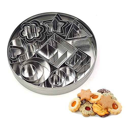 Geometric Shapes Cutters, Mini Cutters Including Hexagon, Square, Circle, Oval, Octagon, Diamond Molds for Pastry, Fondant, Donuts, Clay –Stainless Steel, 24 Pc ()