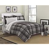 Loft Style Ultimate Plaid Ultra Soft Microfiber Bedding Comforter Set, Gray, Queen