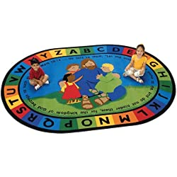 "Carpets for Kids 72007 Jesus Loves the Little Children Carpet-8' x 12' 8' x, 7'8"" x 10'10"", Multicolored"