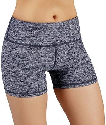 ODODOS Power Flex Yoga Short Tummy Control Workout Running Athletic Non See-Through Yoga Shorts with Hidden Pocket,NavyHeather,X-Large