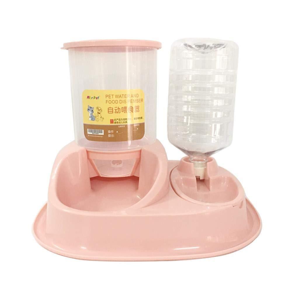 猫の送り装置ペットフードディスペンサーボール水Foutainは猫/犬のための1.5kg食糧PP樹脂を握ることができます (Color : Gray) B07QXZ3653 Pink  Pink