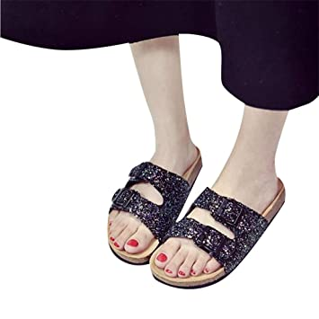 95ed0402cbe Women s Sequins Sandals Double Buckle Slippers Flat Beach Shoes Thick  Bottom Sandals Round Toe Sneakers Casual