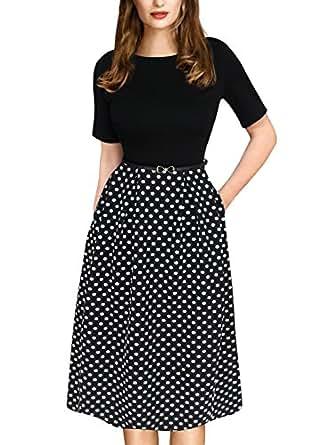 VfEmage Womens Vintage Summer Polka Dot Wear To Work