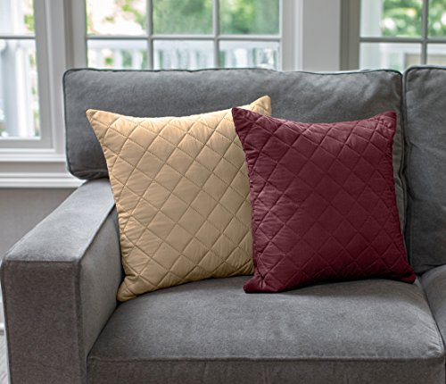 Sofa Shield The Original Reversible Set of 2 Throw Pillow Cases to Match Furniture Protector, Reversible (Throw Pillow: Burgundy/Tan) by Sofa Shield