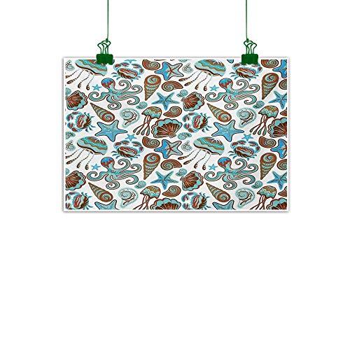 - Anzhutwelve Crabs,Wall Decoration Illustration of Sea Life Crabs Octopus Shells Starfish and Medusa Marine Print Bathroom Wall Decor Turquoise Brown W 32