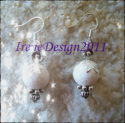 White Bubble Coral & Flower Earrings