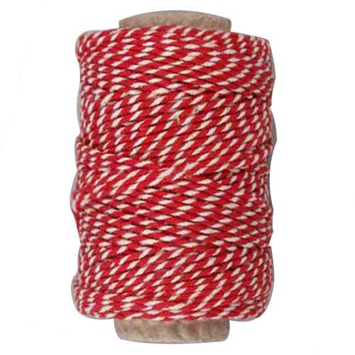 Baumwollschnur, 1,1 mm, rot/weiß, 50 m
