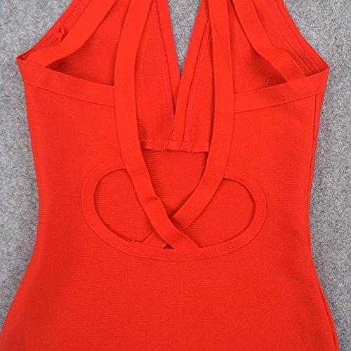 Kleid Schlüsselrozette Verband HLBandage Rot Ansatz Kunstseide Frauen Rückenfreie Halter xHTnwqOBA
