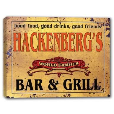 HACKENBERG'S World Famous Bar & Grill Stretched Canvas Sign
