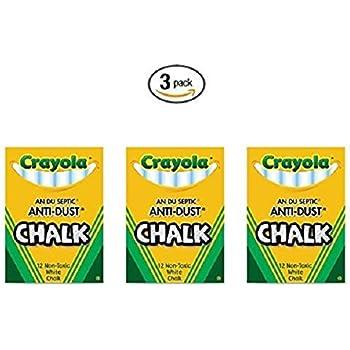 Crayola Nontoxic Anti-Dust Chalk, White, 12 Sticks/Box (50-1402) (3 pack)