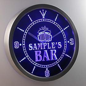 ncw-tm Name Personalized Custom Home Bar Beer Mugs Cheers Neon Sign LED Wall Clock