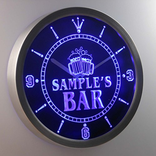 ncw-tm Name Personalized Custom Home Bar Beer Mugs Cheers Neon Sign LED Wall Clock