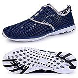 Kanlanlo Men's Quick Drying Mesh Aqua Slip On Water Shoes Lightweight Shoes (9.5 D(M) US, Dark Blue)