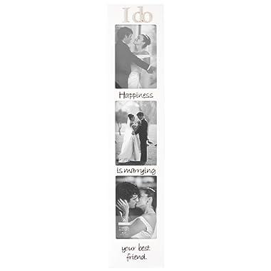 Malden International Designs Wedding I Do Memory Stick Picture Frame, 3 Option, 3-4x6, White