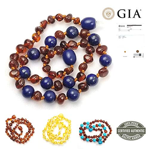 Baltic Amber Teething Necklace for Babies | Natural Remedy for Teething & Oral Relief (No More Gels & Tablets) | GIA Certified 100% Pure Baltic Amber | Unisex Baby Necklace Cognac/Lapis Lazuli