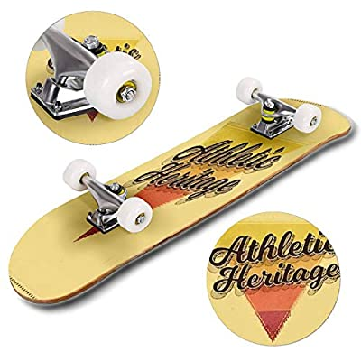 Classic Concave Skateboard Athletic Heritage Typographic Design Classic Look Ideal for Screen Longboard Maple Deck Extreme Sports and Outdoors Double Kick Trick for Beginners and Professionals : Sports & Outdoors