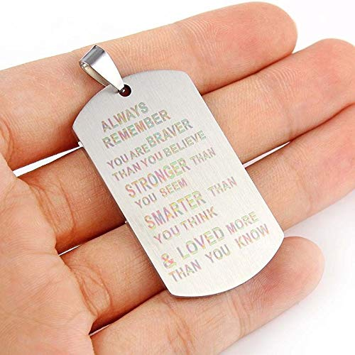 Silver Plated Dog Tag Pendant Always Remember You are Braver Than You Believe