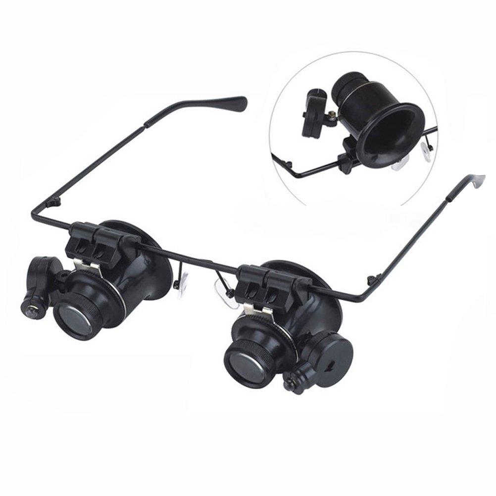 Occhiali lenti ingrandimento con luce BESTOMZ Lenti d'ingrandimento 20X con LED regorabili