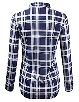 Jj Perfection Womens Plaid Collared Full Button Down Rollable 34 Sleeve Shirt Navygrey 3xl 2