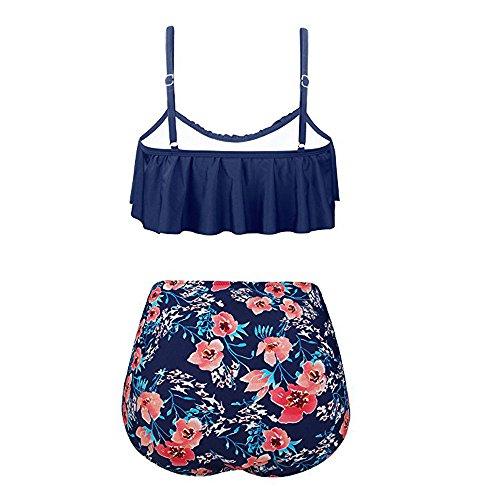 chuxin huang Womens High Waist Bikini Swimsuits Two Piece Retro Thin Shoulder Straps Plus Size Swimwear Red by chuxin huang (Image #1)