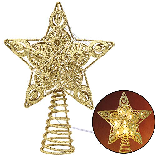 Juegoal 20 Lights Star Tree Topper, Gold Christmas Treetop Decoration - 9
