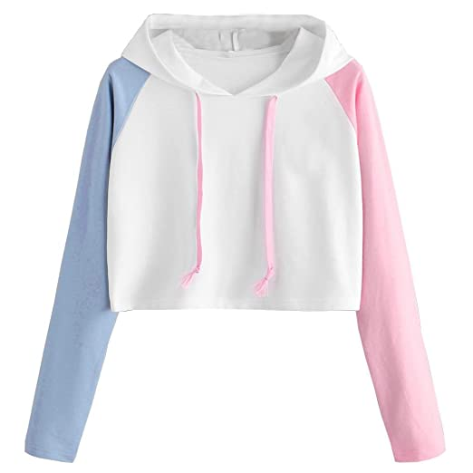 dc4a56a0eb6 Big Clearance!Girls Sexy Loose Long Sleeve Crop Top Sweatshirt Patchwork  Hooded T Shirt Hoodie